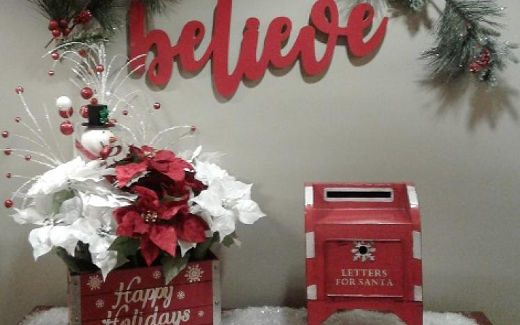 photo of Santa's mailbox in the Town Hall lobby